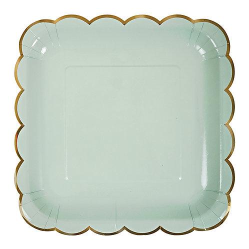 Platos cuadrados pastel - Verde