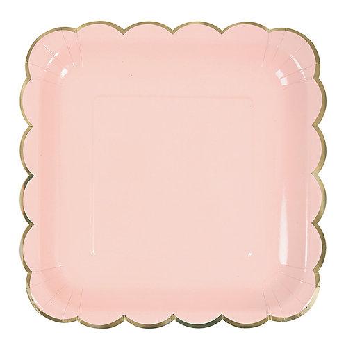 Platos cuadrados pastel - Salmón