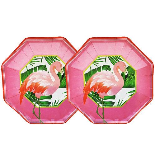 Platos Flamenco rosas