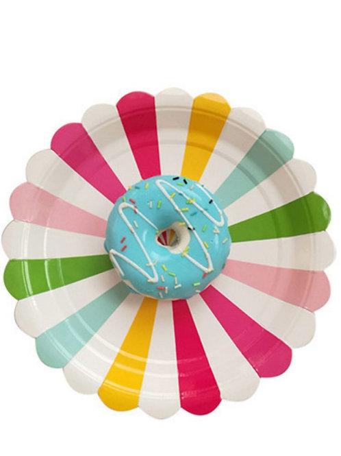 Platos rayados multicolor