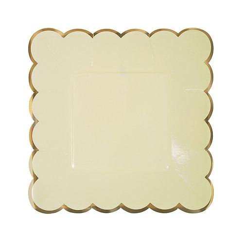 Platos cuadrados pastel - Amarillo