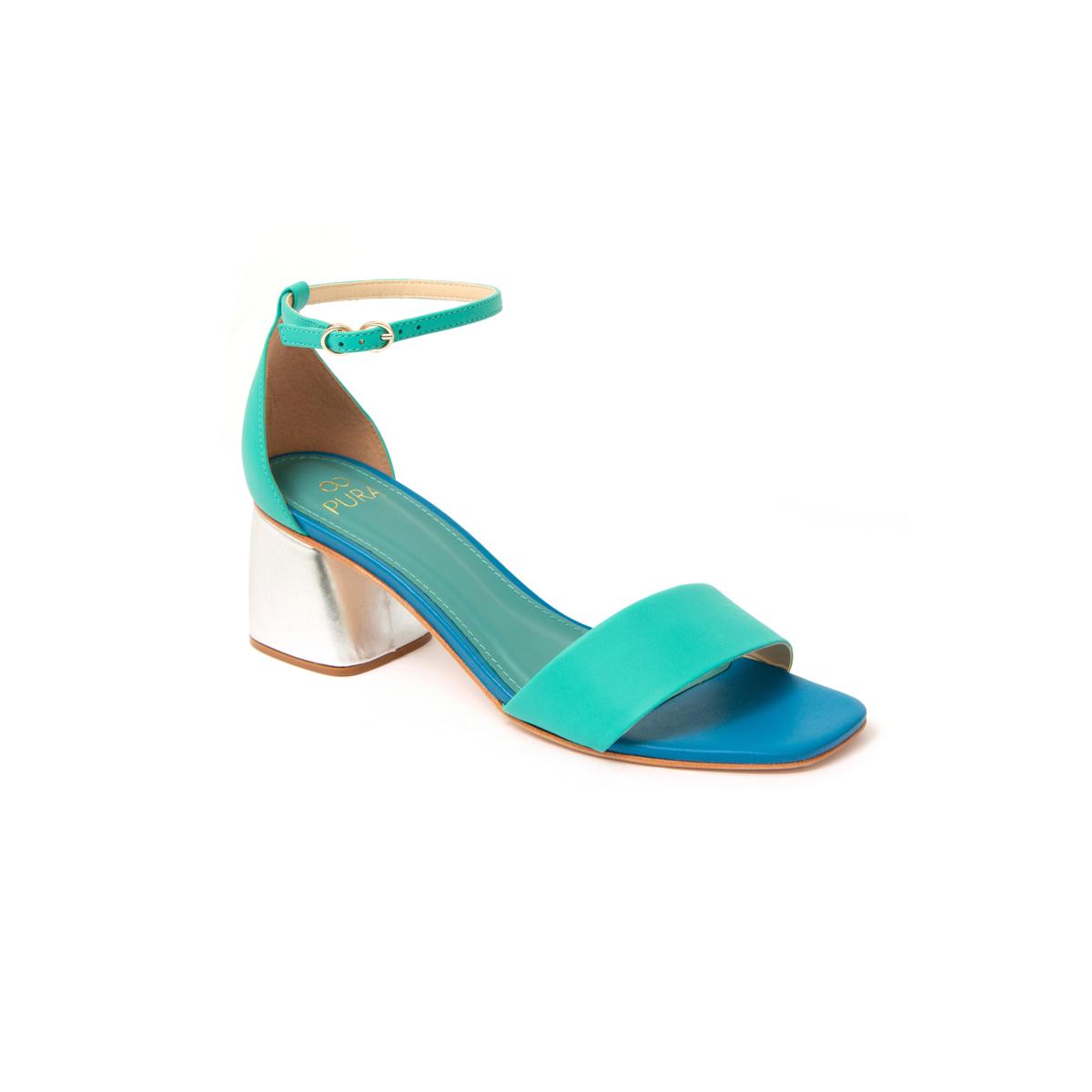 Sandália Vathia Azul, Verde E Prat