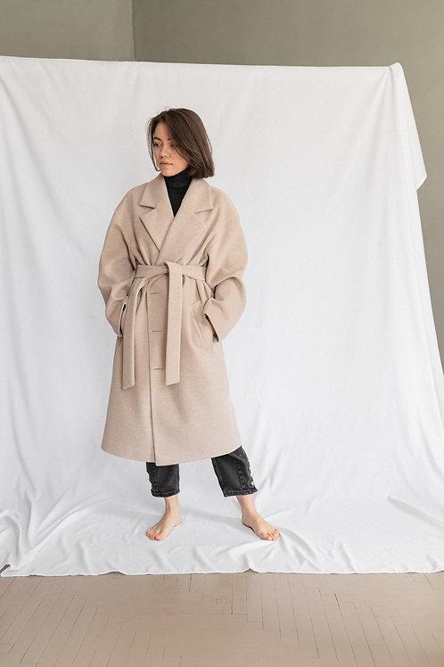 Весеннее пальто унисекс. Крем