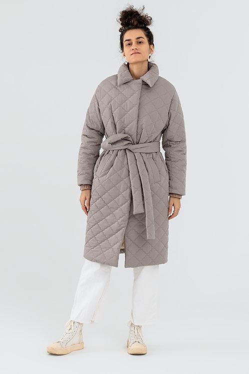 Стеганое пальто в цвете глубокий тауп