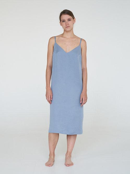 Платье-комбинация в небесном цвете