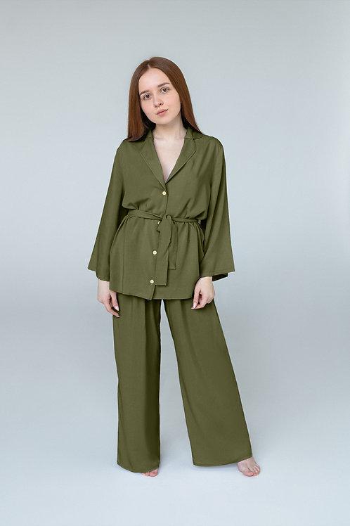 Темно-оливковая пижама со штанами
