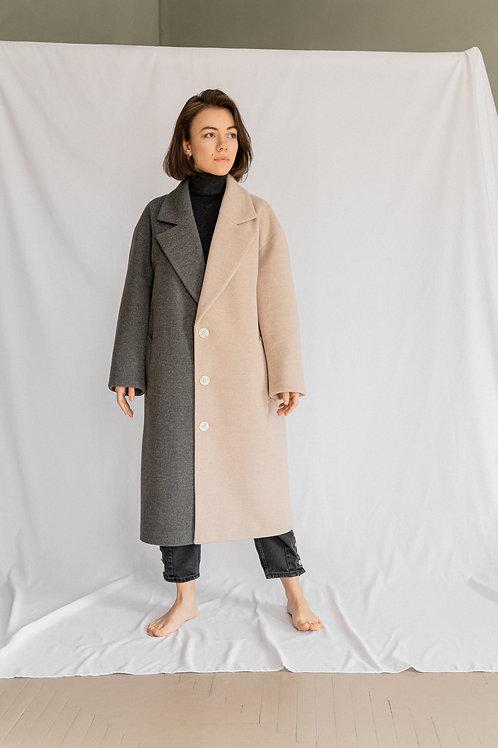 Комбинированное весеннее пальто унисекс