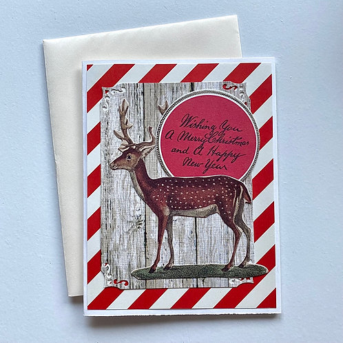 Vintage Ephemera Deer Christmas Card