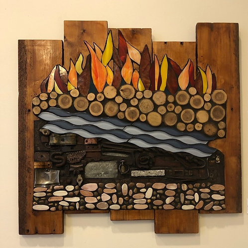 5 Chinese Element Mosaic Wall Hanging Earth, Metal, Water, Wood, Fire