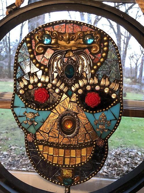 "Skull Mosaic Glass Window ""Vinny"""