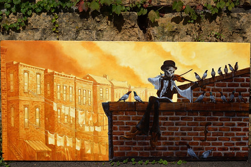 """""""Fiddler on the Roof"""" Original Oil Painting"""