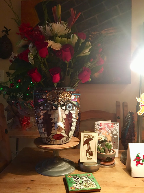"""Scarlet Begonias Pot Head"" Grateful Dead Garden Mosaic"