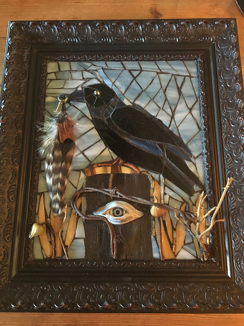 """Crow & Aspen Eye"" Mosaic Suncatcher Window or Wall Mosaic"