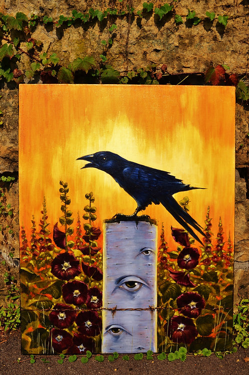 """Little Salem on Hollyhock Hill"" Original Oil Painting"