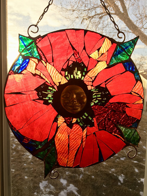 """Poppy Love"" Mosaic Stained Glass Window"