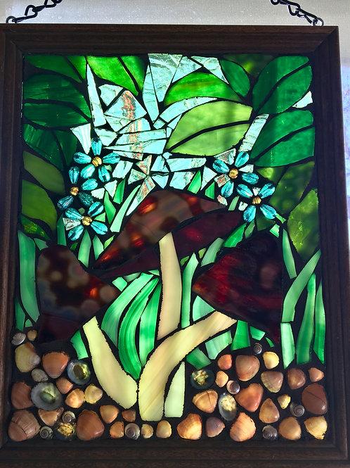 """The Shire"" Mushroom Mosaic Suncatcher Window"