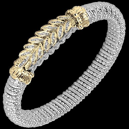 14 Karat Yellow Gold and Silver .21ctw Diamond Alwand Vahan Bangle
