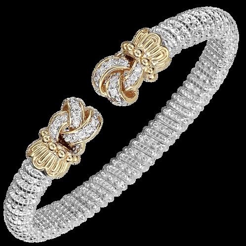 14 Karat Yellow Gold and Silver .30ctw Diamond Alwand Vahan Bangle