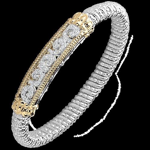 14 Karat Yellow Gold and Silver .23ctw Diamond Alwand Vahan Bangle