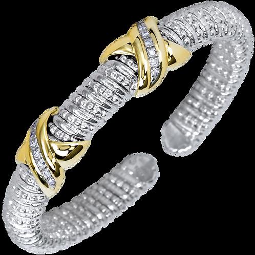 14 Karat Yellow Gold and Silver .14ctw Diamond Alwand Vahan Bangle