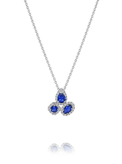 14 Karat White Gold Sapphire and Diamond Fana Pendant