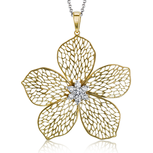 18 Karat Yellow Gold Diamond Simon G Flower Pendant