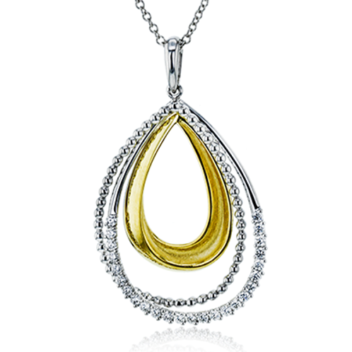 18 Karat White and Yellow Gold Diamond Simon G Pendant