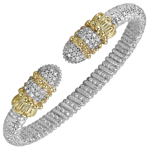 14 Karat Yellow Gold and Silver .57 Carat Alwand Vahan Bangle