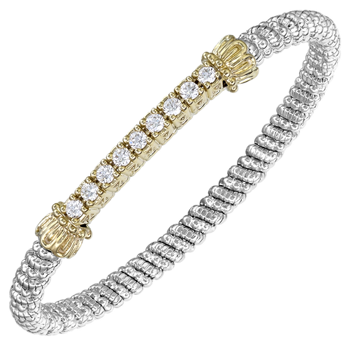 14 Karat Yellow Gold and Silver .97ctw Diamond Alwand Vahan Bangle