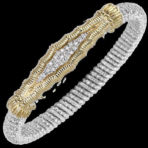 14 Karat Yellow Gold and Silver .17ctw Diamond Alwand Vahan Bangle