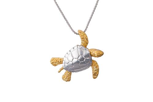 14 Karat Yellow and White Gold Denny Wong Turtle Pendant