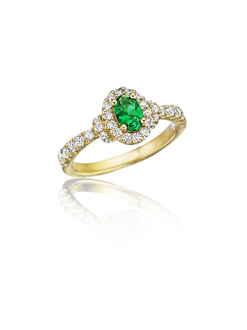 14 Karat Yellow Gold Emerald and Diamond Fana Ring