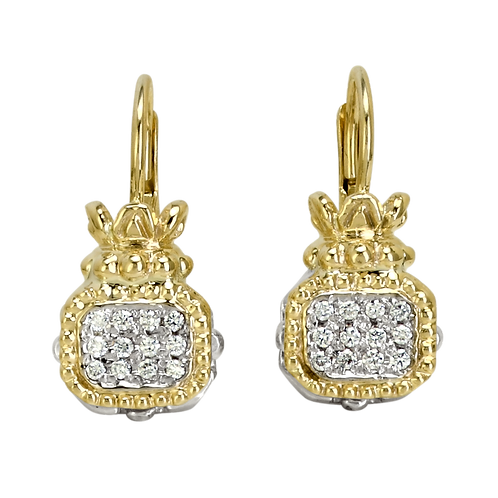 14 Karat Yellow Gold and Silver .18 Carat Alwand Vahan Earrings