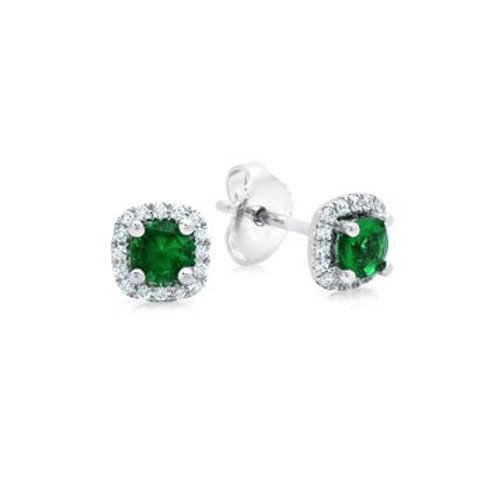14 Karat White Gold Emerald and Diamond Fana Stud Earrings
