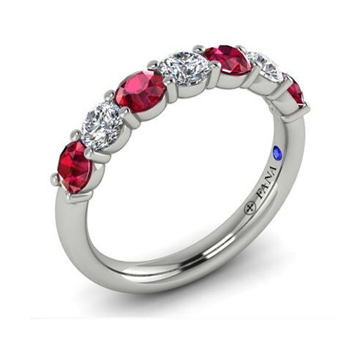 14 Karat White Gold Ruby and Diamond Fana Ring