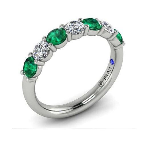 14 Karat White Gold Emerald and Diamond Fana Ring