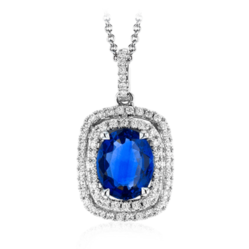 18 Karat White Gold Blue Sapphire and Diamond Simon G Pendant