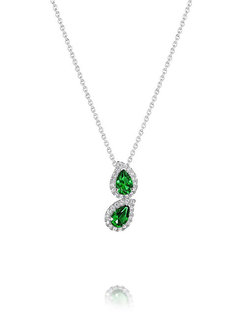 14 Karat White Gold Emerald and Diamond Fana Necklace