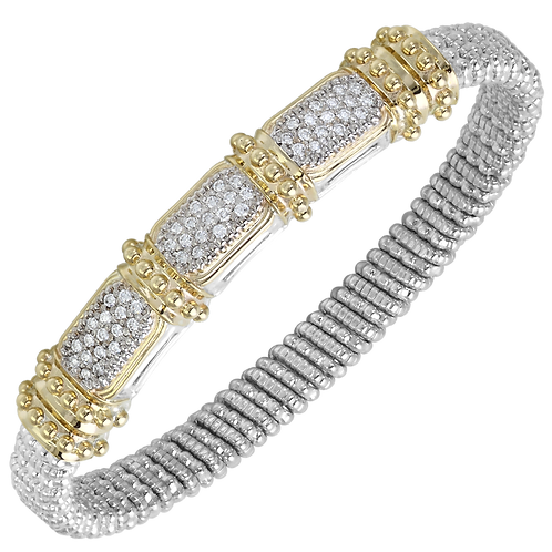 14 Karat Yellow Gold and Silver .51ctw Diamond Alwand Vahan Bangle