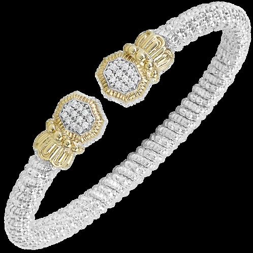 14 Karat Yellow Gold and Silver .18ctw Diamond Alwand Vahan Bangle