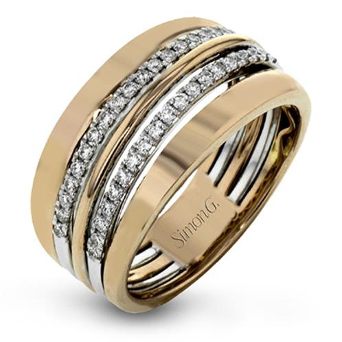 18 Karat Rose and White Gold Diamond Simon G Ring