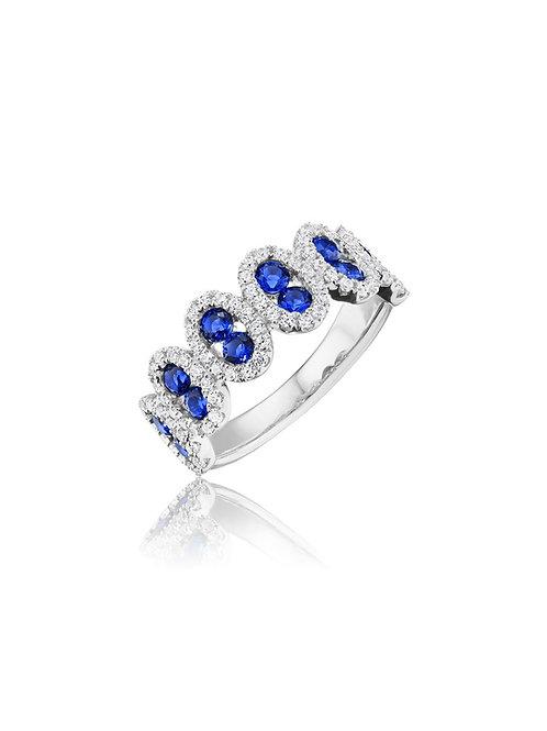 14 Karat White Gold Sapphire and Diamond Fana Ring
