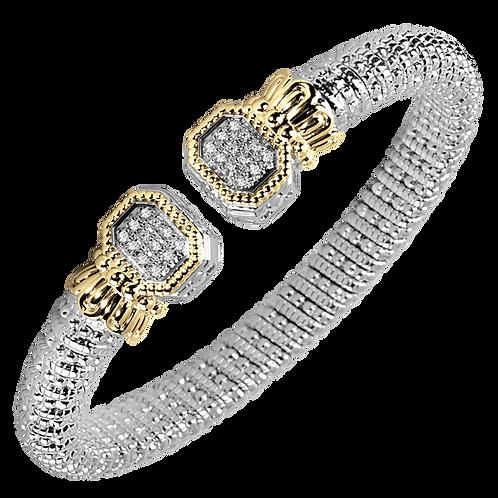 14 Karat Yellow Gold and Silver .24ctw Diamond Alwand Vahan Bangle
