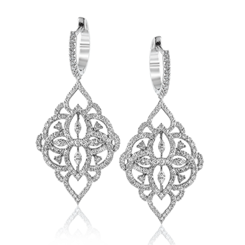 18 Karat White Gold Diamond Simon G Earrings