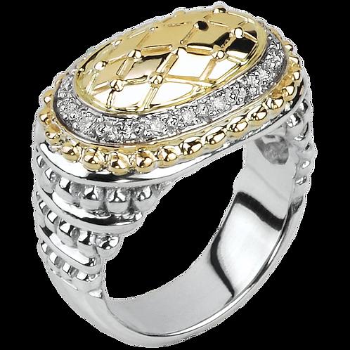 14 Karat Yellow Gold and Silver .18ctw Alwand Vahan Ring