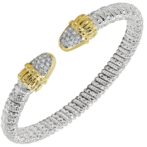 14 Karat Yellow Gold and Silver .18ctw Diamond Alwand Vahan Bangle
