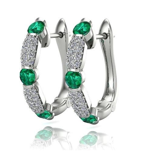 14 Karat White Gold Emerald and Diamond Fana Earrings