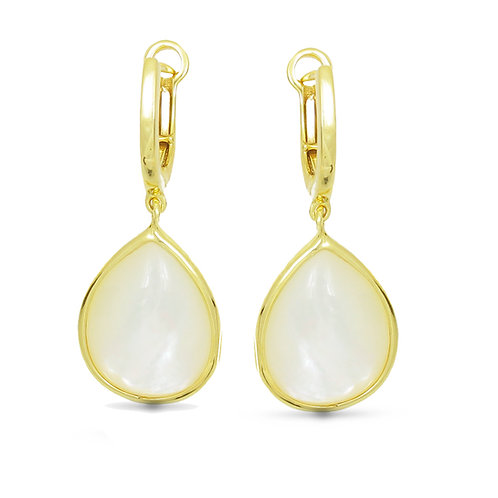 14 Karat Yellow Gold Mother of Pearl Frederic Sage Earrings