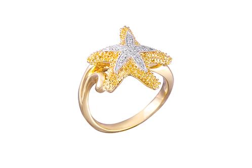 14 Karat Yellow and White Gold Denny Wong Starfish Ring