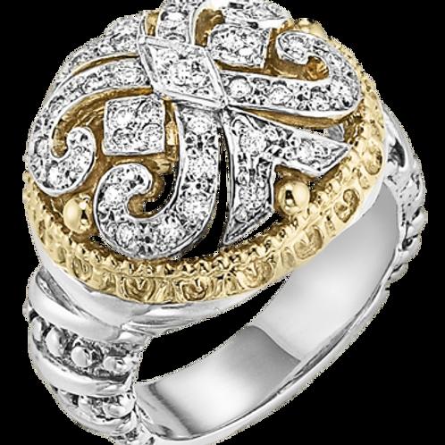 14 Karat Yellow Gold and Silver .29 Carat Alwand Vahan Ring